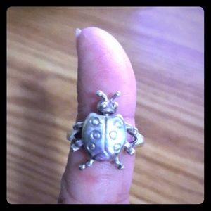 Vintage Articulated Sterling Silver Ladybug Ring